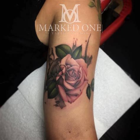 rose tattoo with leaves girly bicep pink with leaves