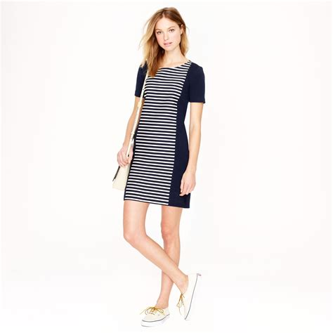 knit shift dress j crew stripe knit shift dress in blue lyst