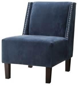 hayden armless chair blue velvet with nailheads