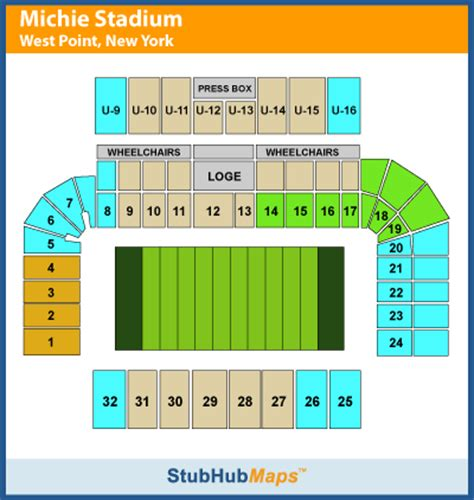 michie stadium seating chart army football michie stadium espn