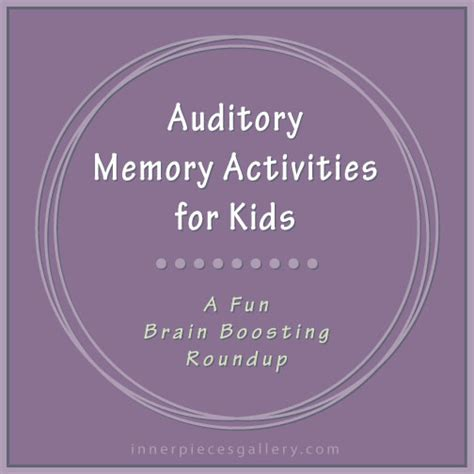 Auditory Memory Activities Worksheets by Auditory Memory Activities For Inner Pieces Gallery