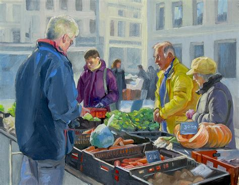 sell paint selling vegetables at the market painting by dominique