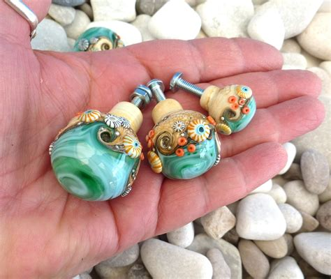 Handmade Glass Door Knobs - sand sea handmade glass door knob or drawer pull by