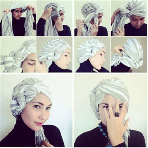 tutorial buat turban 10 gaya hijab segi empat yang beda buat pipi chubby