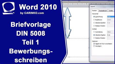 Din Briefformat Erstellung Einer Briefvorlage Brief Din 5008 Teil 1 Bewerbungsschreiben Ms Word Carinko
