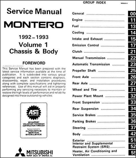 service manual 1993 mitsubishi montero workshop manuals free pdf download 1993 mitsubishi