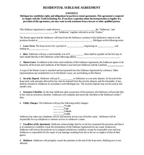 residential sublease agreement template sublease agreement template 9 free word pdf document