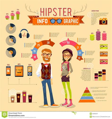 Hipster Infographic Set Stock Vector   Image: 50283237