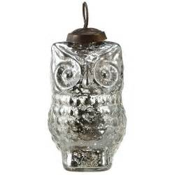 silvered 4 quot owl tree ornaments set 12 antique glass