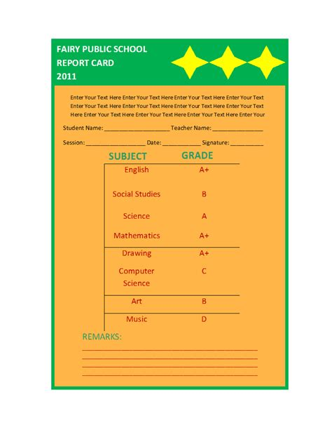 free printable report card template free printable report templates