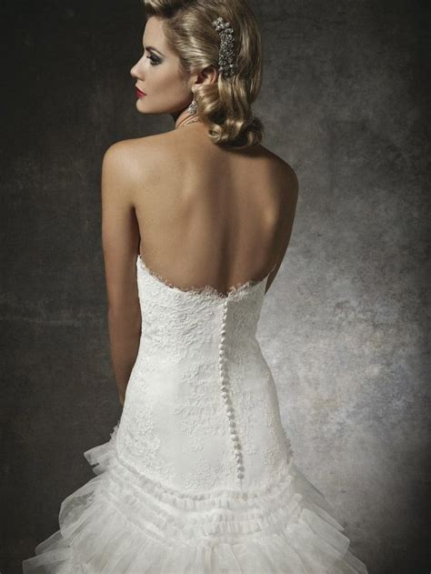 designer strapless low back wedding dress with train and