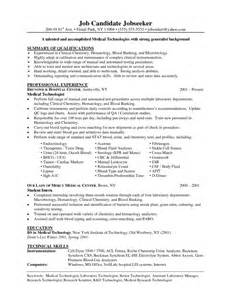 medical lab technician resume sample samples of resumes