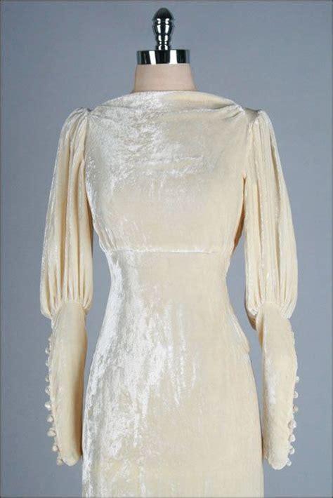 Velvet Vintage Wedding Dresses by R E S E R V E D Vintage 1930s Wedding Dress Ivory