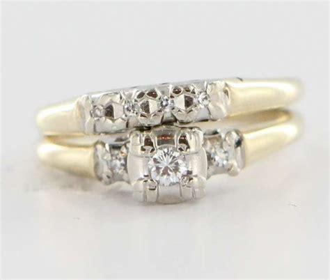 vintage 14 karat yellow white gold wedding ring