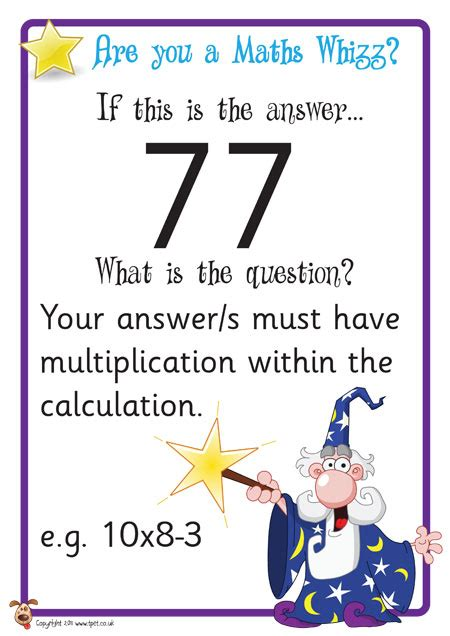 maths challenge cards for plenaries afl early finishers
