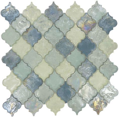 iridescent arabesque tile blue glass tile backsplash