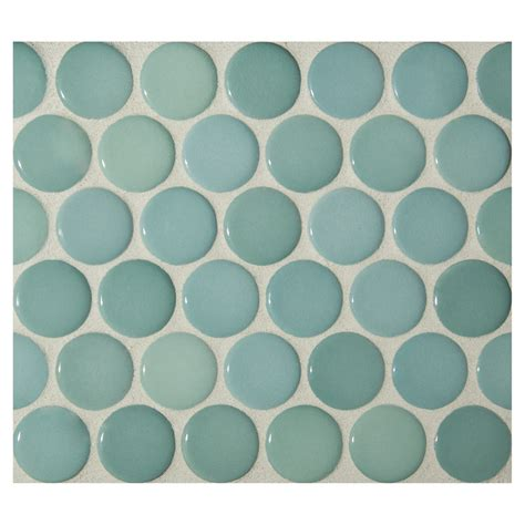 Ceramic Kitchen Backsplash Penny Round Mosaic Ocean Green Gloss Complete Tile