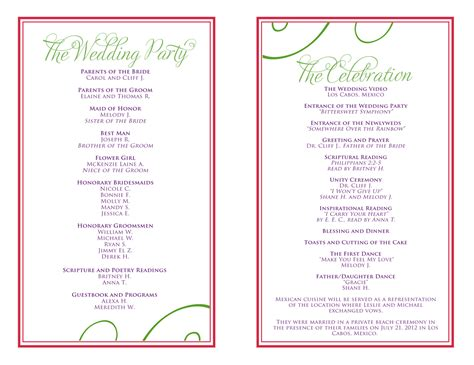 detailed wedding reception card template wedding itinerary templates free reception programs