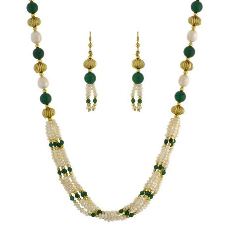 buy green pearl necklace sets