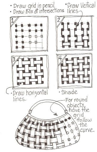 Zentangle Basket Pattern | basket weave tangle pattern step by step tangle