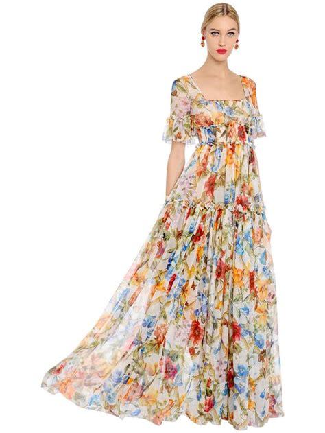 Floral Print Chiffon Dress dolce gabbana bamboo silk chiffon multi floral printed