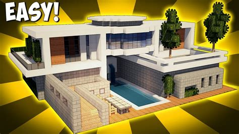 minecraft modern house tutorial minecraft how to build a large modern house tutorial