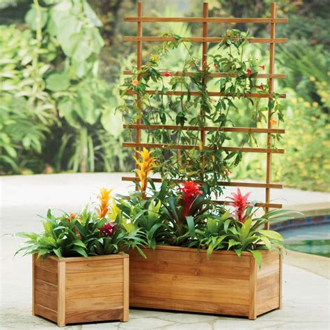 Patio Planters by Self Watering Teak Planters Built To Last A Lifetime