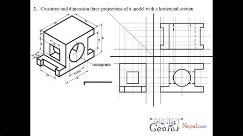 sectional view engineering drawing tutorials orthographic and sectional