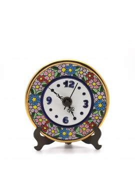 Handmade Ceramic Clocks - 12cm handmade ceramic clock with enamel 24kt gold