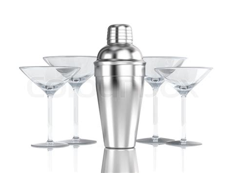 martini shaker clip art cocktail shaker with glass isolated on white stock
