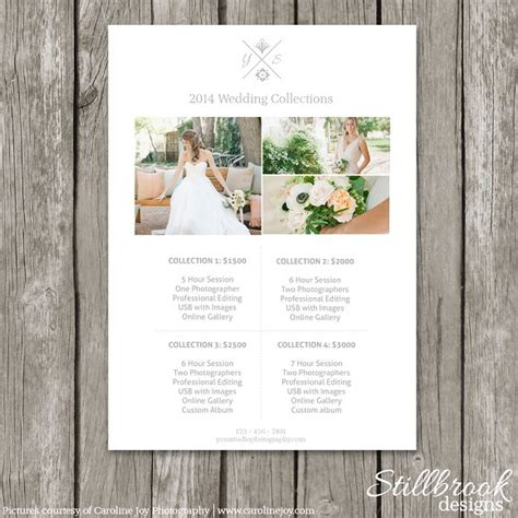 Price Guide Template Pricing Sheet Flyer Templates On Creative Market Wedding Photography Pricing Guide Template