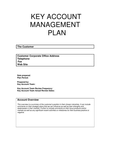 Key Account Management Plan Account Plan Template