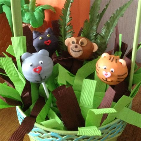 jungle book themed birthday party cake pops i made for my nephew s jungle book themed 1st