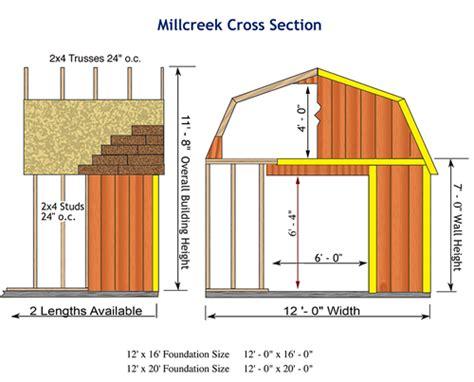 barns millcreek  wood storage shed kit