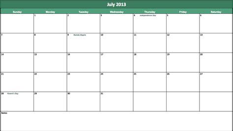 Calendar July 2013 July 2013 Calendar For Excel