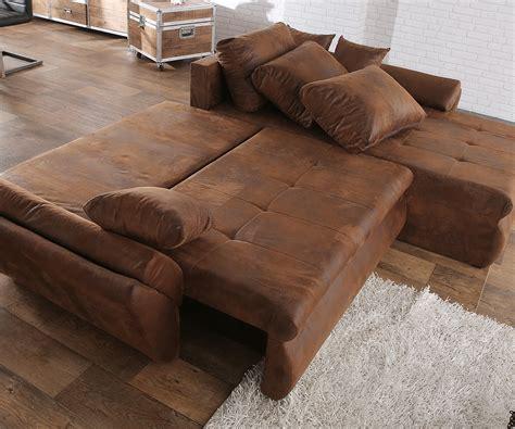überzug für sofa mit ottomane loana braun 275x185 cm ecksofa schlaffunktion