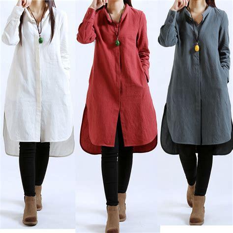 Hmm Tuneec Longshirt casual sleeve cotton linen tunic a line button shirt dress m 2xl ebay