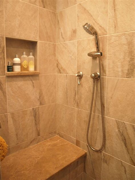 Stand Up Shower With Seat bench seat and handheld shower traditional bathroom