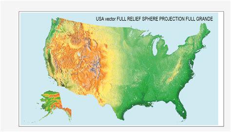 usa relief map us relief vector map topo terrain 01 02 vector sphere