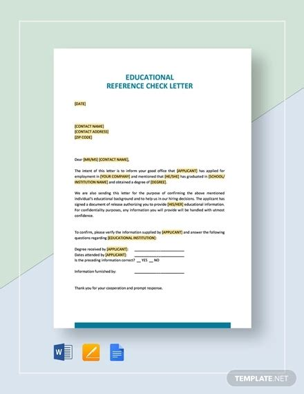 reference check letters word premium templates