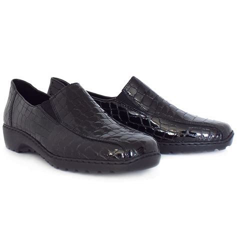 comfortable slip on shoes womens rieker wonderer l6070 comfortable mock croc leather