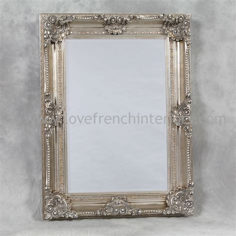 silver rectangular classic framed mirror