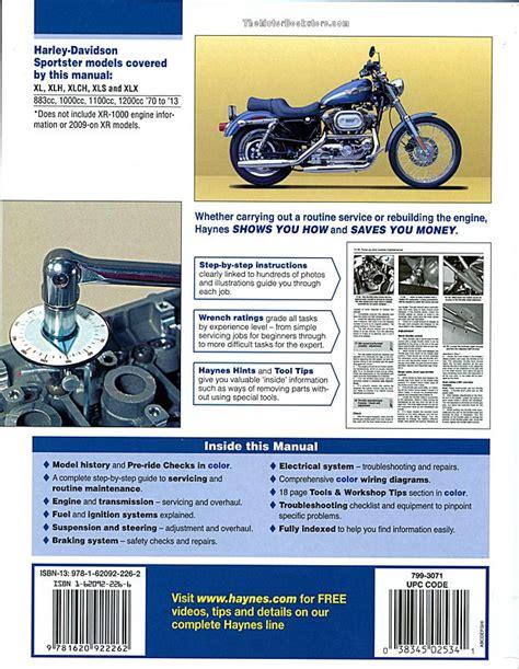 Harley Davidson Sportster Service Manual by Harley Sportster 883 1000 1100 1200 Repair Manual 1970 2013
