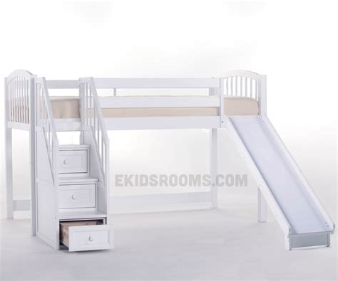 Bunk Bed With Stairs And Slide School House Junior Low Loft Bed With Stairs And Slide Ne Furniture White Loft Bed