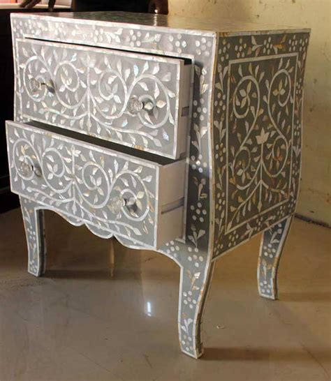 2 drawers scroll motif of pearl inlay bedside