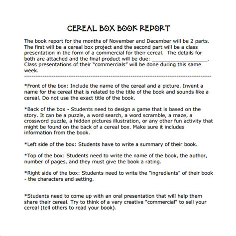 book report commercial cereal box book report commercial template helpessay599