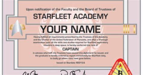 printable starfleet academy diploma starfleet academy diploma personalized with your name star