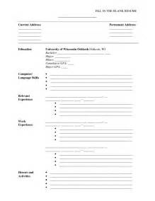 Sample Blank Resume sample resume format free blank resume templates