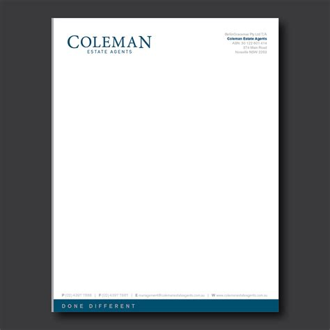 Business Letterhead Design Letterhead Design For Coleman Estate Agents By Dotnot Design 4748691