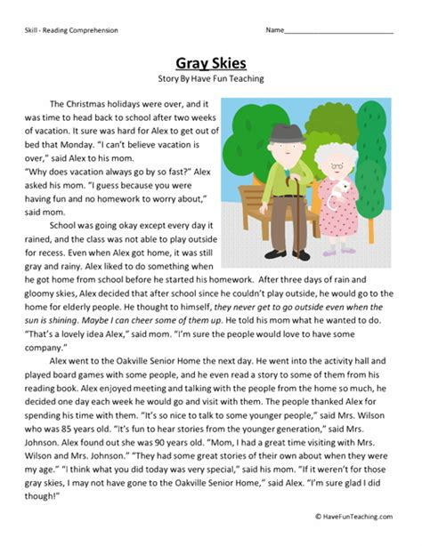Reading Comprehension Worksheets 2nd Grade by Gray Skies Reading Comprehension Worksheet